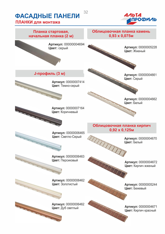 Альта-Профиль фасадные панели планки для монтажа