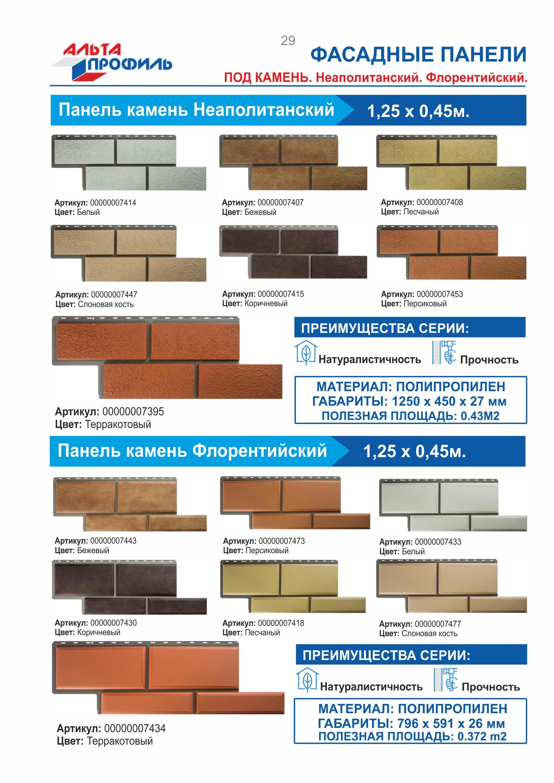 Альта-Профиль фасадные панели под камень неаполитанский флорентийский